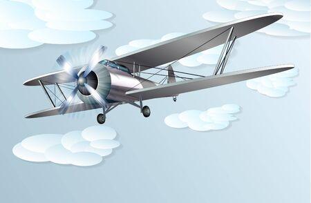 piloting: Vintage biplane