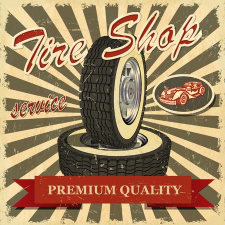 Tire shop retro poster. Stock Illustratie