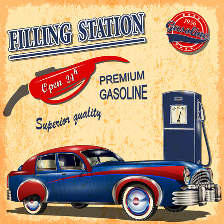 assignment: Filling station retro poster