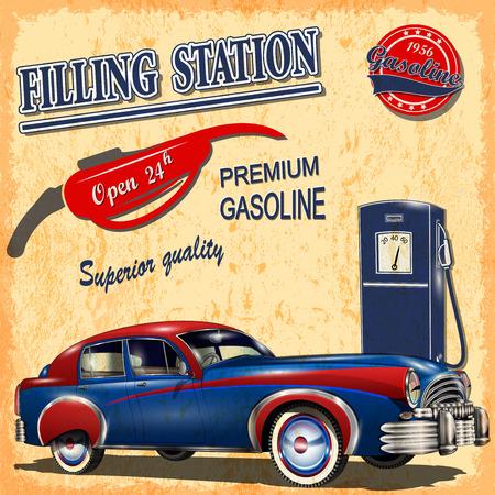 filling: Filling station retro poster