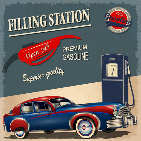 gases: Filling station retro poster
