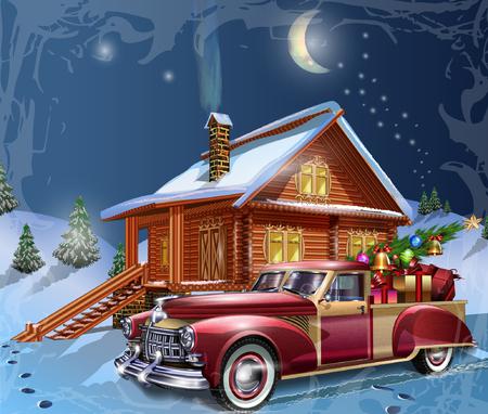 Kerst wens kaart Stock Illustratie