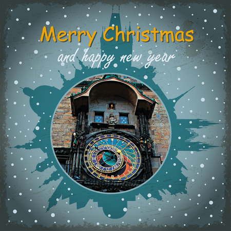 astronomical: Christmas vintage card with Astronomical Clock and snowfall.