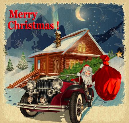 크리스마스 인사말 빈티지 카드 일러스트