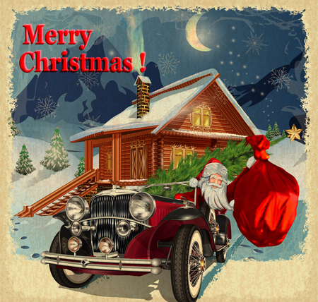 Christmas greeting vintage card Vettoriali
