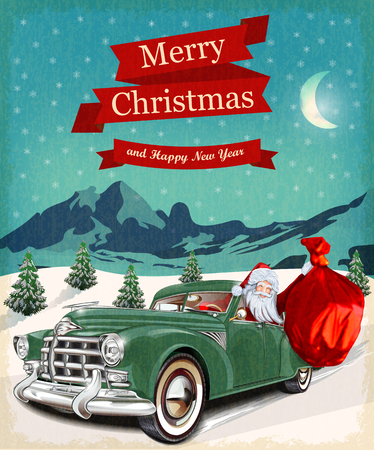 winter car: Christmas greeting vintage card Illustration