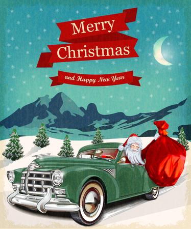 papa noel: Tarjeta de felicitación de Navidad de la vendimia Vectores