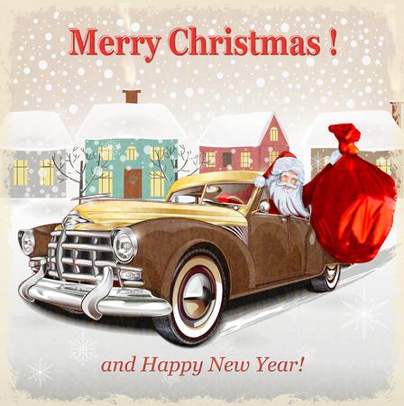 Christmas greeting vintage card Illustration