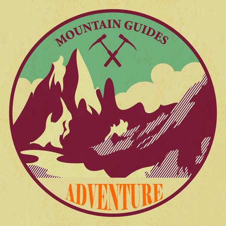 mountain climber: Mountain adventure label Illustration