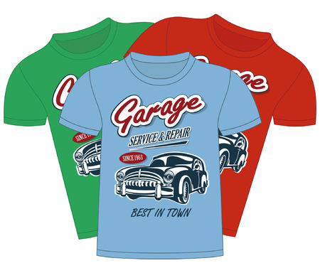 vintage banner: T-Shirt Garage Design.Objects are located on a separate layer.