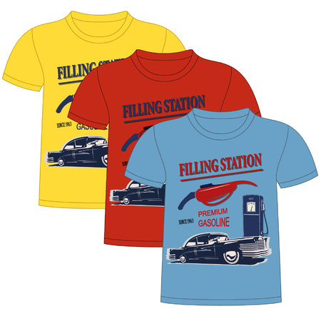 filling station: T-Shirt Filling station Design. Objects are located on a separate layer.