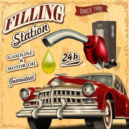 葡萄收穫期: 加油站復古海報 向量圖像