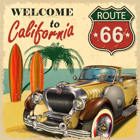 Welcome to California retro poster. 版權商用圖片 - 49114241