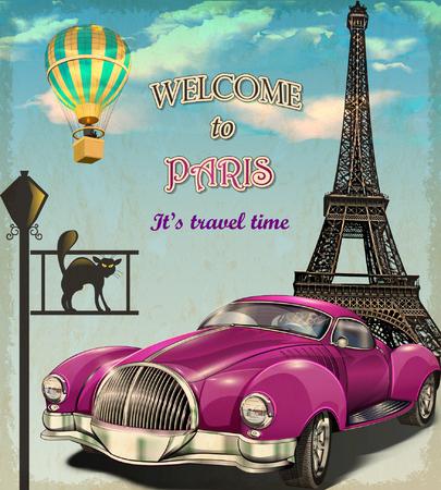 europa: Bienvenido a París cartel retro. Vectores