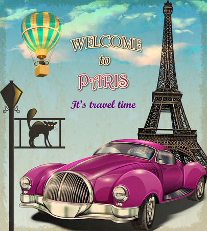 Welcome to Paris retro poster.