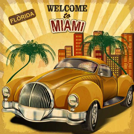 마이애미 복고풍 포스터에 오신 것을 환영합니다. 일러스트