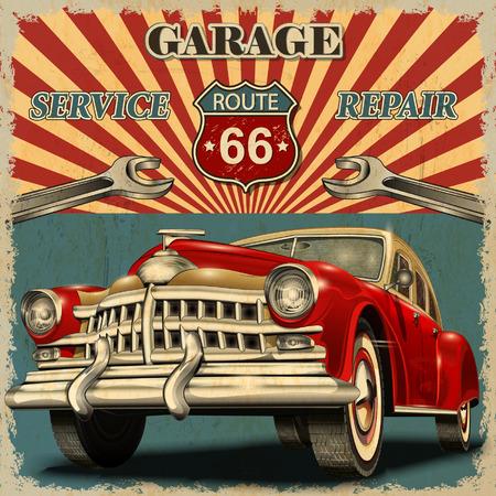mecanico automotriz: Garaje del vintage Cartel retro Vectores