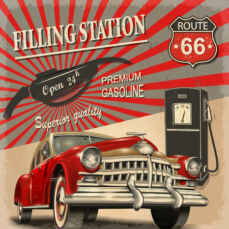 old cars: Filling station retro poster