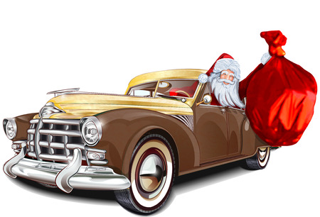 Santa Claus in retro avto