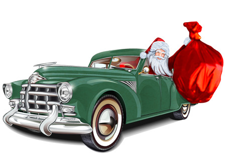 vehicle: Santa Claus in retro avto