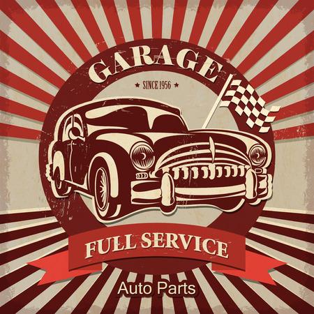 Garaje del vintage Cartel retro Foto de archivo - 50142997