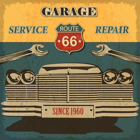 Vintage garage retro poster Фото со стока - 50143002