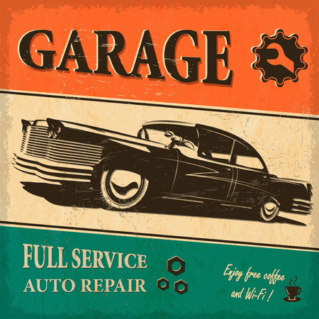 dirty car: Vintage garage retro poster