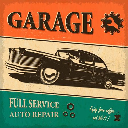 Vintage retro plakat garażu