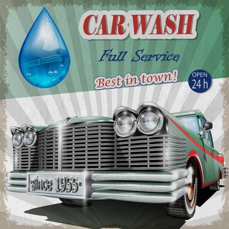 retro: Car wash retro poster. Illustration