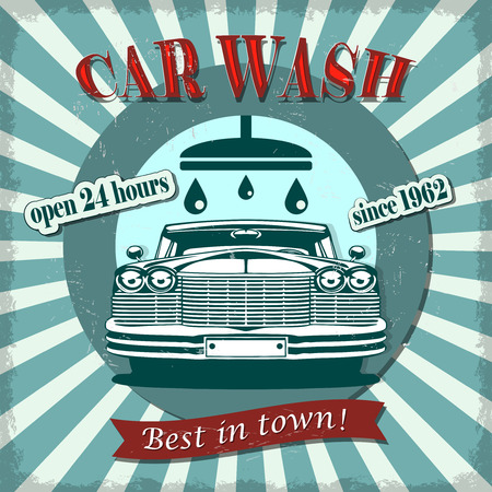 Car wash retro poster. 일러스트