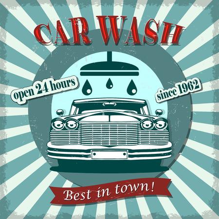Car wash retro poster. Vectores