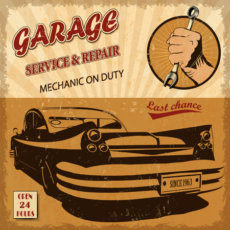 fifties: Vintage garage retro poster