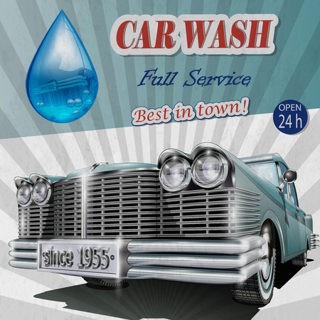 Car wash retro poster. Vettoriali