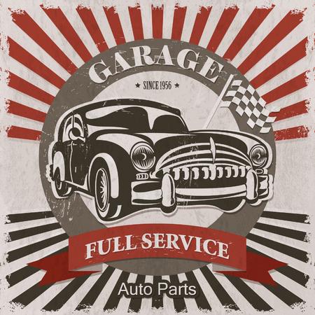 garage: Vintage garage retro poster