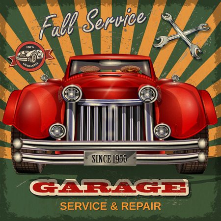 Weinlese-Garage Retro Plakat Vektorgrafik
