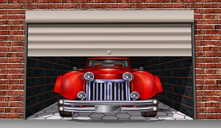 Garage mit Retro-Auto