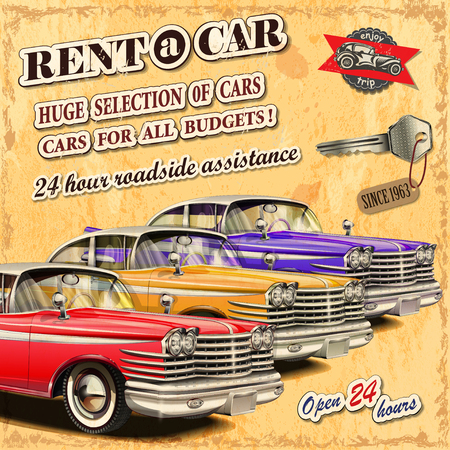 motors: Rent a car retro poster. Illustration