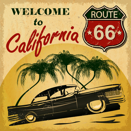california state: Welcome to California retro poster.