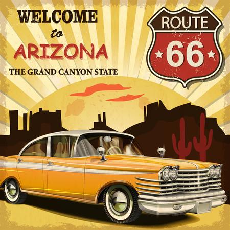 carro antiguo: Bienvenido al cartel retro de Arizona. Vectores