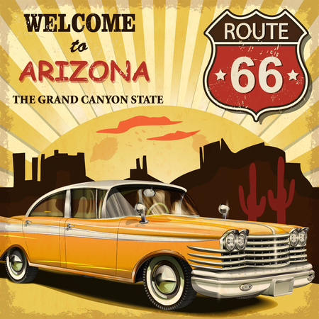 old cars: Welcome to Arizona retro poster. Illustration