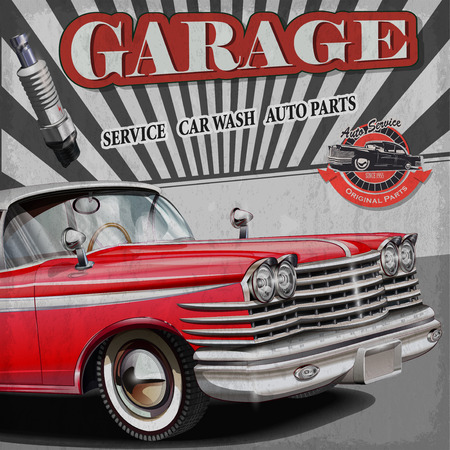 old cars: Vintage garage retro banner Illustration