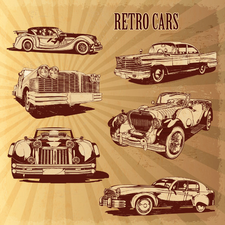 classic cars: Silhouettes retro cars. Illustration