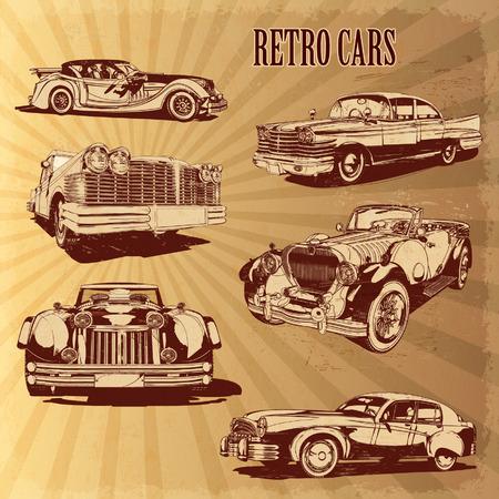 Sylwetki samochodów retro.