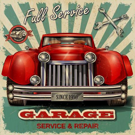 bağbozumu: Vintage garaj, retro posteri Çizim
