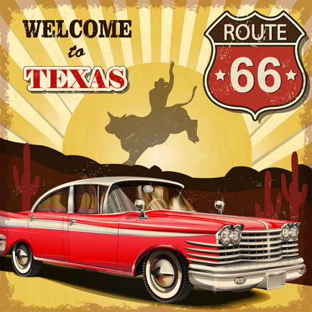 road trip: Welcome to Texas retro poster.