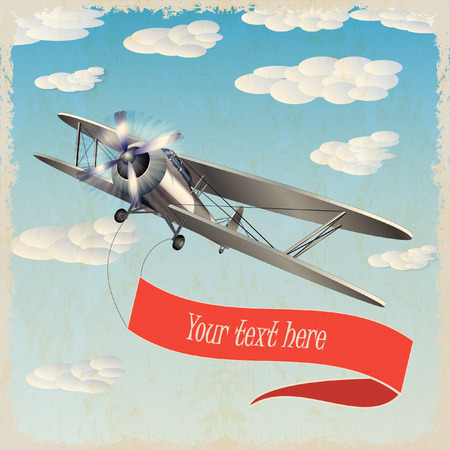 biplane: retro airplane with banner