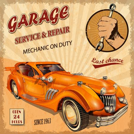 Garaje del vintage Cartel retro Foto de archivo - 50143103