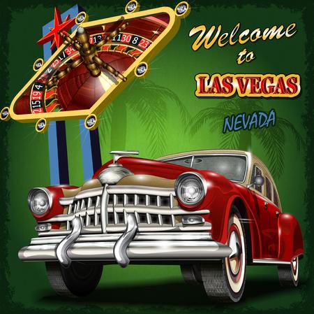 Witamy w Las Vegas retro plakatu. Ilustracje wektorowe