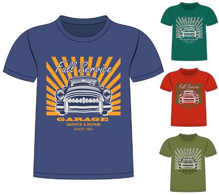 sixties: T-Shirt Garage Design Illustration