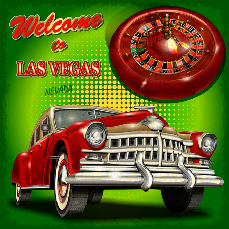 american roulette: Welcome to Las Vegas retro poster.